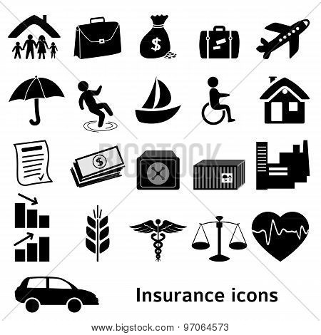 Icons-insurance-black-isolated-on-white-background
