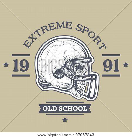 American football poster, emblem.
