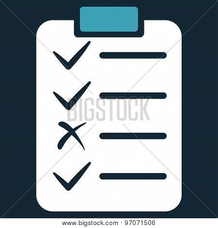 Task List icon from Commerce Set. Glyph style: bicolor flat symbol, blue and white colors, rounded angles, dark blue background. poster