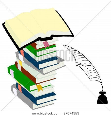 Inkwell  feather and hardcover books  for education concept.