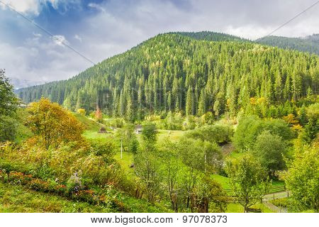 Mountain Landscape With Rural Outbuildings Autumn