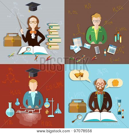 Education Concept: Teacher Classroom, Students, Teacher, Professor, Exams, Teaching, icon set