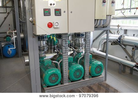 Group Of Pumps With A Control Panel