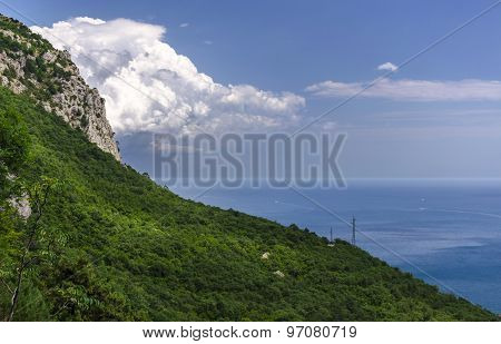 Panorama of Foros. Foros Church. View from the top.Crimea, Russia.