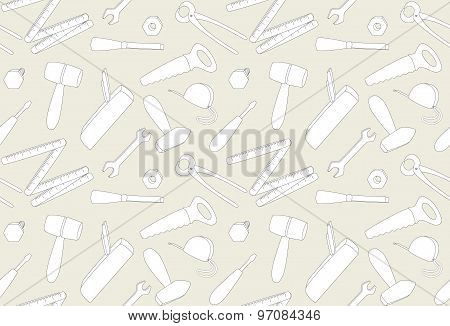 Beige Seamless Pattern with cartoon tools, Illustration