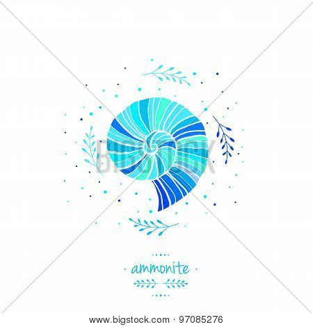 Vector Illustration With Ammonite. Sea Theme