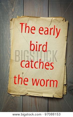 English proverb: The early bird catches the worm. 50 most important english proverbs series