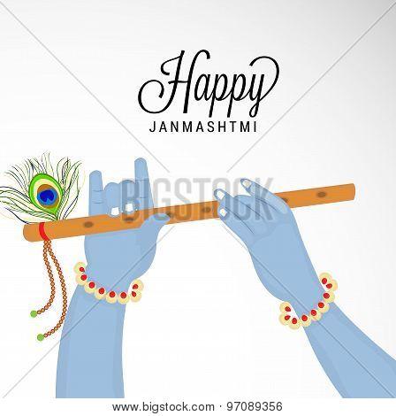 illustration of a Krishna Hand Holding a Flute for Happy Janmashtmi. poster