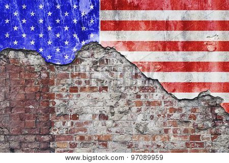 American Flag On Grungy Wall