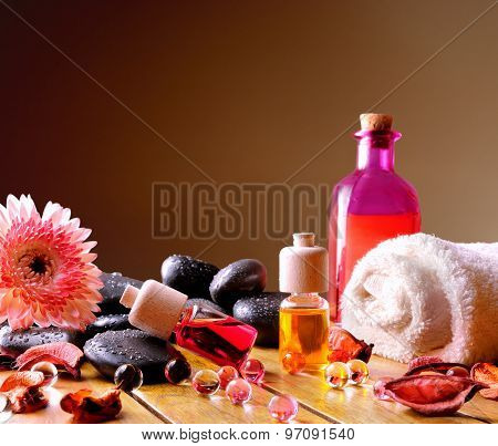 Containers And Oil Balls For Body Care Square Composition