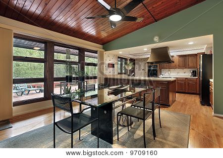 Dining Room Wood Ceiling Panels