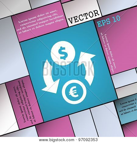 Currency Exchange Icon Sign. Modern Flat Style For Your Design. Vector