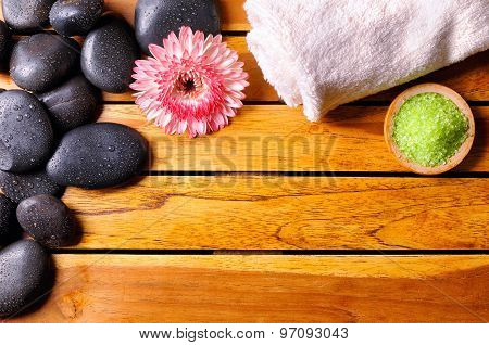 Stones With Towel And Bath Salts Top View