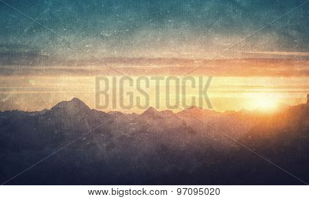 Natural beautiful landscape of sunrise above mountains