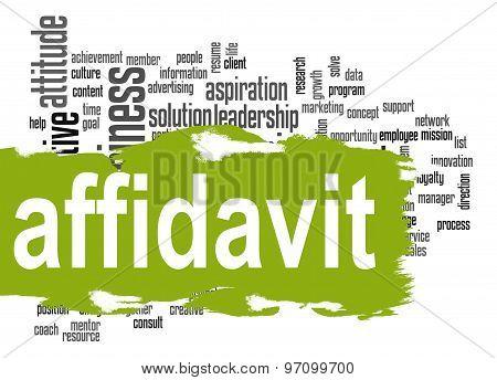 Affidavit Word Cloud With Green Banner