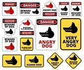 Beware of dog and Angry Dog warning sign. Vector EPS8 set poster