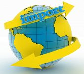 Import arrow around earth for business. Direction concept. 3d illustration on white background poster