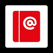 Emails icon. This flat rounded square button uses red and white colors and isolated on a black background. poster