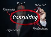 Business man writing consulting concept new business concept studio shot poster
