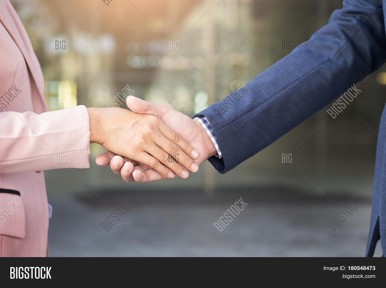 Closeup Friendly Meeting Handshake Between Business Woman And  Businessman With Sunlight