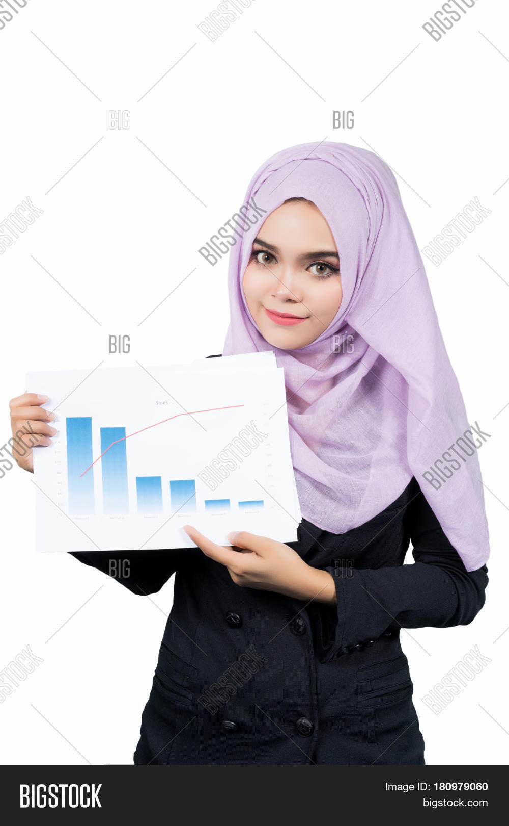 Beautiful modern Young Asian Muslim business woman holding reports and looking at cameraisolated on white background.