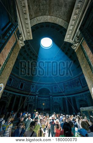 ROME, ITALY - MAY 9, 2014: The light ray in Pantheon. Pantheon is a famous monument of ancient Roman culture, the temple of all the gods built in the 2nd century.