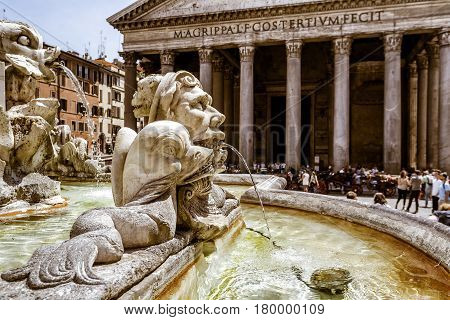 Baroque fountain in front of Pantheon at the Piazza della Rotonda in Rome, Italy