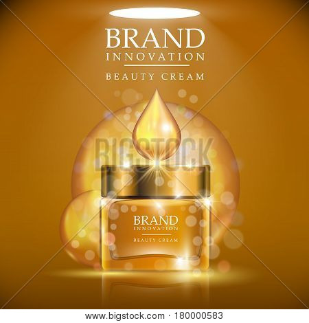Golden cream bottle with golden cap placed on a light brown background. Shining golden cream drop above the bottle. Beauty product advertising concept for cosmetic industry. Vector