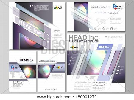 Social media posts set. Business templates. Easy editable abstract flat design template, vector layouts in popular formats. Retro style, mystical Sci-Fi background. Futuristic trendy design.