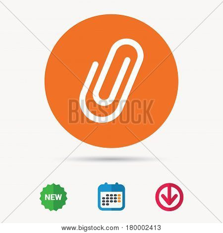 Attachment icon. Paper clip symbol. Calendar, download arrow and new tag signs. Colored flat web icons. Vector