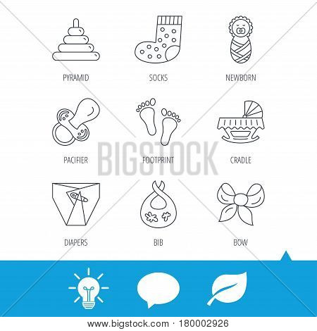 Pacifier, diapers and newborn icons. Footprint, socks and dirty bib linear signs. Pyramid toy, cradle bed flat line icons. Light bulb, speech bubble and leaf web icons. Vector