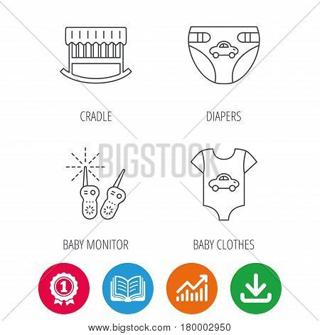 Newborn clothes, diapers and sleep cradle icons. Radio monitoring linear sign. Award medal, growth chart and opened book web icons. Download arrow. Vector