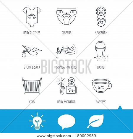 Diapers, newborn baby and clothes icons. Kids songs, beach bucket and bed linear signs. Video monitoring, wc flat line icons. Light bulb, speech bubble and leaf web icons. Vector