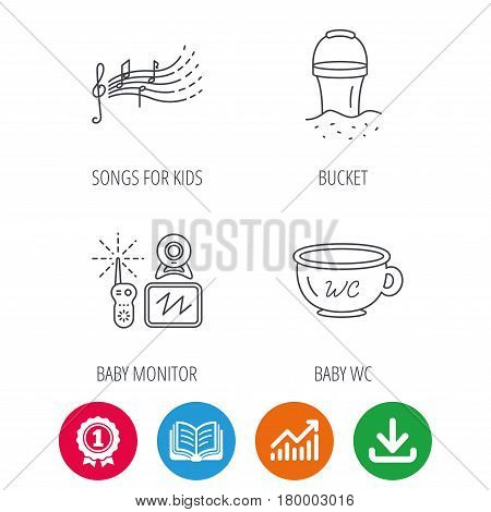 Baby wc, video monitoring and songs for kids icons. Beach bucket linear sign. Award medal, growth chart and opened book web icons. Download arrow. Vector