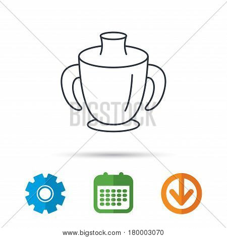 Toddler spout cup icon. Baby mug sign. Flip top feeding bottle symbol. Calendar, cogwheel and download arrow signs. Colored flat web icons. Vector