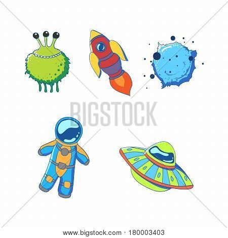 Set of cartoon space elements. Rocket alien planet astronaut and flying saucer. Vector illustration.
