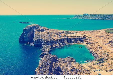 instagram tone Aerial View at Saint Paul Bay from Lindos Rhodes island, Greece.