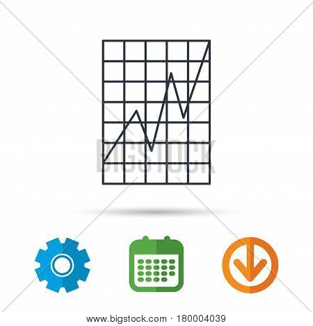 Chart curve icon. Graph diagram sign. Demand growth symbol. Calendar, cogwheel and download arrow signs. Colored flat web icons. Vector