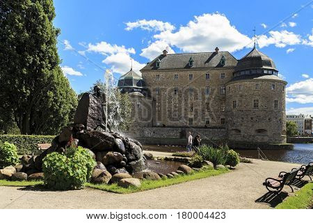 OREBRO, SWEDEN - JULY 7, 2016: It is a fountain with the figure