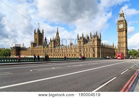 LONDON, GREAT BRITAIN - MAY 10, 2014: This is view of the Parliament of Great Britain from the Westminser Bridge.