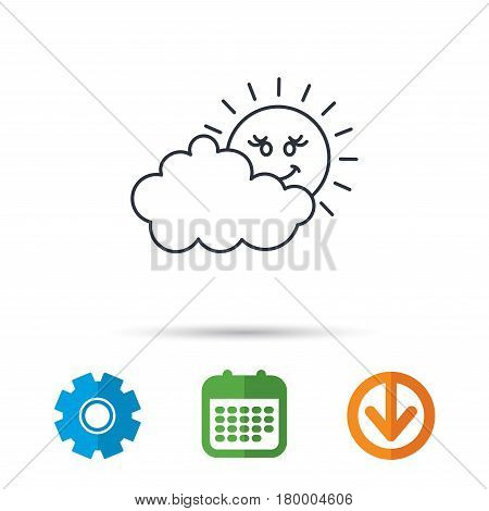 Cloudy day with sun icon. Overcast weather sign. Meteorology symbol. Calendar, cogwheel and download arrow signs. Colored flat web icons. Vector