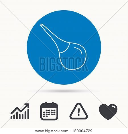 Medical clyster icon. Enema sign. Calendar, attention sign and growth chart. Button with web icon. Vector