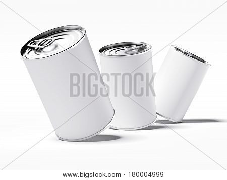 Three tin cans with blank label isolated on white. 3d rendering
