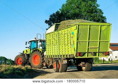 Tractor With Trailer Full Of Hay Bourgogne Franche Comte