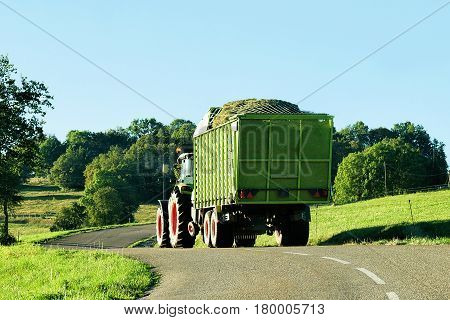 Tractor With Trailer Full Of Hay In Bourgogne Franche Comte