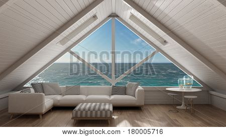 Panoramic window on open sea ocean mezzanine loft living room with relaxing sofa minimalist scandinavian interior design, 3d illustration