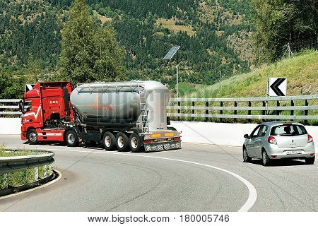 Truck On Road Visp In Swiss