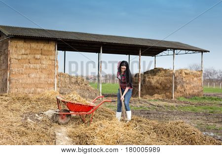 Woman Working Dirty Works On Farm