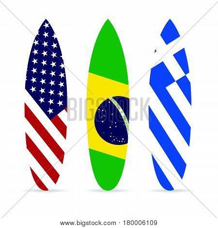 Surfboard With Flag On It Set Leisure Illustration