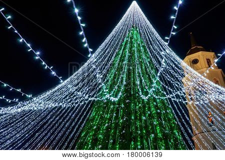 Christmas tree with decoration and Bell tower at Cathedral Square in Vilnius in Lithuania. It has fairy lights as if bridal veiling. Illuminated at night